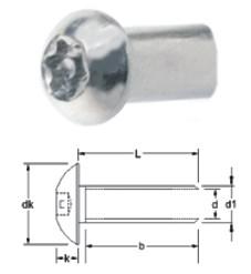 1 Stück Hülsenmutter Linsenkopf TORX+PIN A2 M10X20