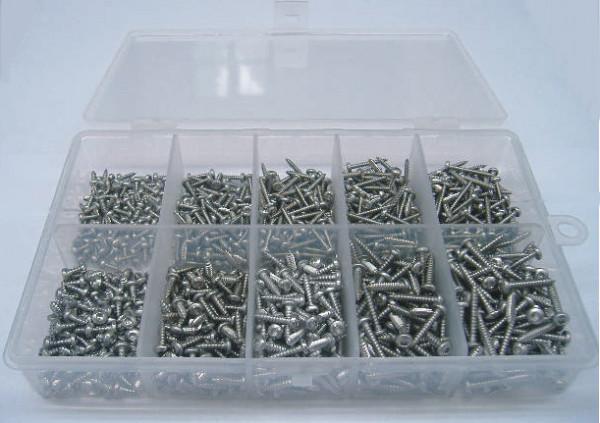 2,2/2,9er Blechschrauben TORX Set 250 Teile DIN 7981 A2