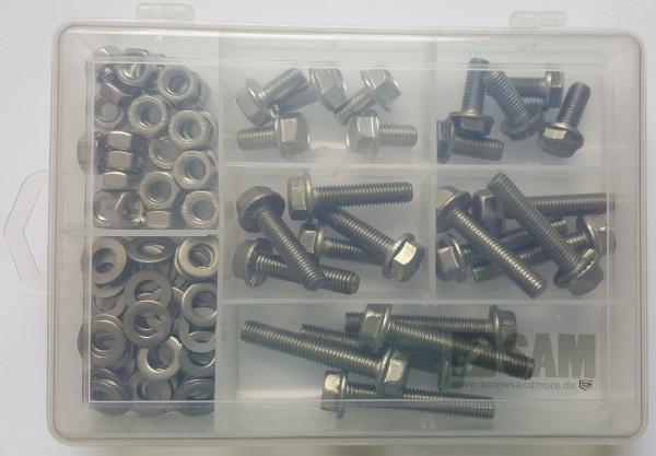 M8 Sechskantschrauben Set 100 Teile DIN 6921 VERZAHNT A2
