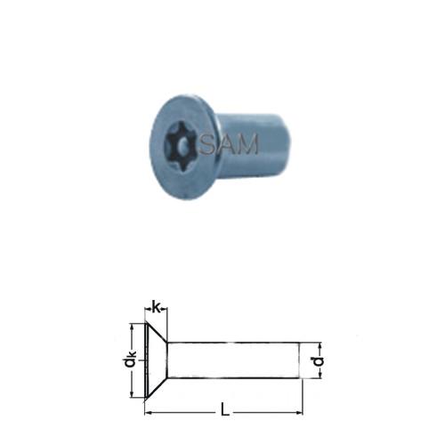 1 Stück Hülsenmutter Senkkopf TORX+PIN A2 M4X12