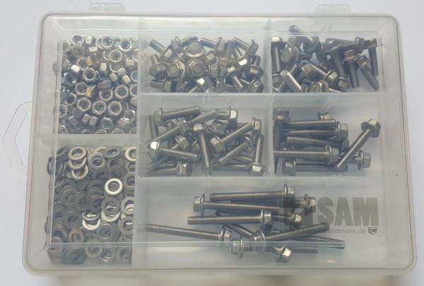 M5 Sechskantschrauben Set 320 Teile DIN 6921 VERZAHNT A2